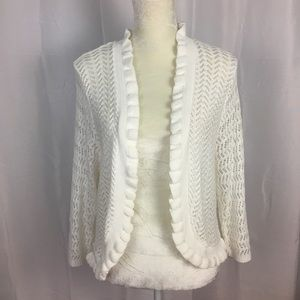 Kim Rogers lacy crochet shrug cropped sweater 1X